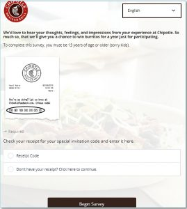 Chipotle Survey Homepage